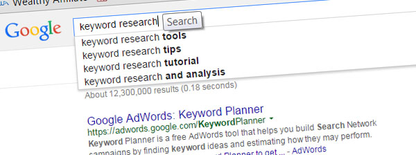 Typing of keywords in the search field