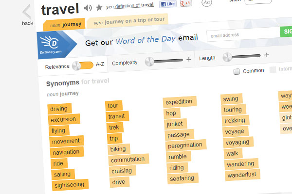 Thesaurus.com find related keywords