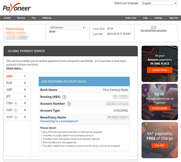 US dollar bank account information on Payoneer